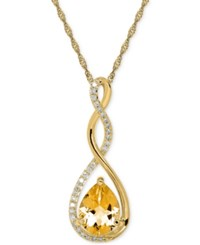 Macy's Birthstone And Diamond 1 10 Ct. T.W. Pendant Necklace In 14K White Or Yellow Gold