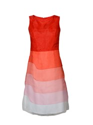 Yanny London Silk Organza Ombre Sleeveless Dress Red