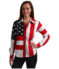 Scully Flag Shirt Red White Blue Women's Long Sleeve Button Up Multi