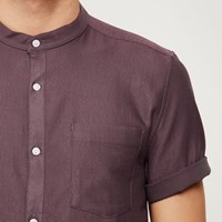 River Island Mens Red Waffle Short Sleeve Grandad Shirt