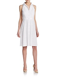 Carmen Marc Valvo Eyelet Sleeveless Shirtdress Ivory