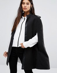 Noisy May Cape Coat With Leather Look Detail Black