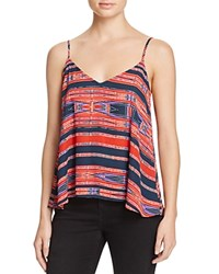 Aqua Aztec Stripe V Neck Tank Red Navy