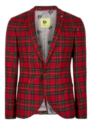 Topman Noose And Monkey Red And Green Tartan Wool Blazer