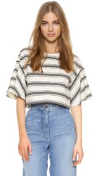 Tibi Ariel Top Black Ivory Multi