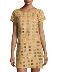 Milly Laser Cut Leather Shift Dress Vachetta