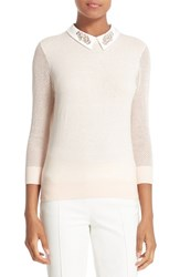 Ted Baker Women's London Embellished Collar Mesh Sleeve Sweater Baby Pink