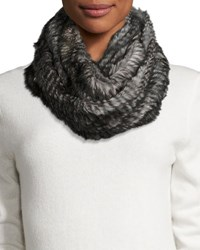 Jocelyn Rabbit Fur Infinity Scarf Black Heather Gray