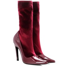 Balenciaga Velvet And Patent Leather Boots Red