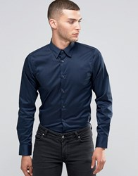 Sisley Slim Fit Shirt With Stretch Navy 275