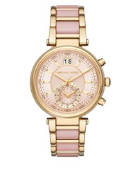 Michael Kors Sawyer Goldtone Stainless Steel And Acetate Link Bracelet Watch Pink
