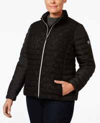 Michael Kors Plus Size Lace Trimmed Quilted Jacket Black