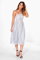 Boohoo Striped Panelled Strappy Skater Dress Grey