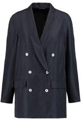 Rag And Bone Gabrielle Printed Silk Twill Blazer Midnight Blue