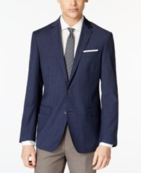 Dkny Men's Blue Checked Extra Slim Fit Sport Coat