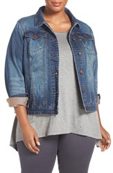 Addition Elle Love And Legend Plus Size Women's 'Joggy' Denim Jacket Medium Wash Denim