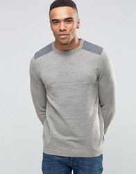 New Look Jumper In Stone With Grey Shoulder Patch Stone
