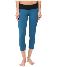 Hot Chillys Mtf Flex Capris Lagoon Black Women's Capri Blue