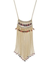 Inc International Concepts Gold Tone Multicolor Bead Fringe Statement Necklace Only At Macy's Merlot