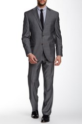 David Donahue Ryan Grey Two Button Notch Lapel Classic Fit Wool Suit Gray
