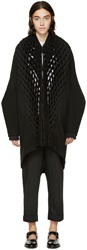 Junya Watanabe Black Wool And Pleated Lattice Coat