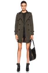 Moncler Delmas Poly Blend Trench In Green