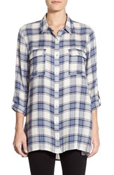 Women's Bobeau Plaid Roll Sleeve Tunic