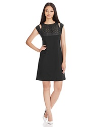 Catherine Malandrino Honey Perforated Yoke Shift Dress Black