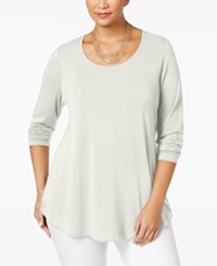 Jm Collection Plus Size Scoop Neck Swing Top Only At Macy's Eggshell
