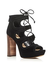 Vince Camuto Kamaye Lace Up High Heel Platform Sandals Black
