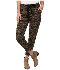 Free People Printed Linen Relaxed Cropped Tie Pants Black Combo Women's Casual Pants