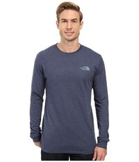 The North Face Long Sleeve Red Box Tee Cosmic Blue Light Heather Worn Blue Men's Long Sleeve Pullover