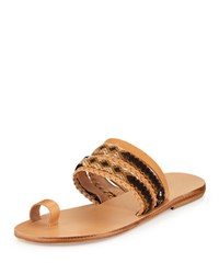 Elina Lebessi Daphne Woven Toe Ring Flat Slide Sandal Neutral Multi W