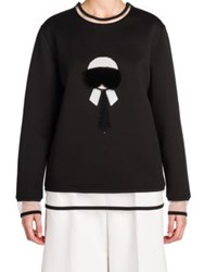 Fendi Karl Fur Embroidered Sweatshirt Black