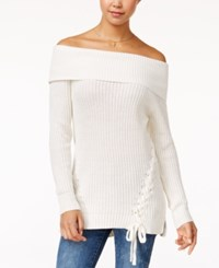 Jessica Simpson Lace Up Off The Shoulder Sweater Whisper White