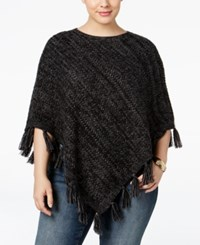 Styleandco. Style Co. Plus Size Fringe Poncho Sweater Only At Macy's Deep Black Grey Heather