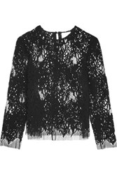 Michelle Mason Open Knit Wool Blend And Mesh Top Black