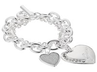 Guess Logo Heart Multi Chain Toggle Bracelet Shiny Silver Crystal Bracelet