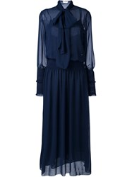 See By Chloe Pussy Bow Maxi Dress Blue
