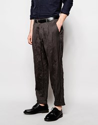 Asos Tapered Trousers In Lightweight Pinstripe Mid Grey Grey