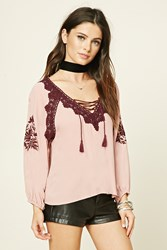 Forever 21 Embroidered Lace Up Peasant Top
