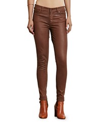 Lauren Ralph Lauren Premier Coated Skinny Ankle Jeans Brown