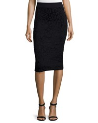Burberry Textured Animal Print Pencil Skirt Black