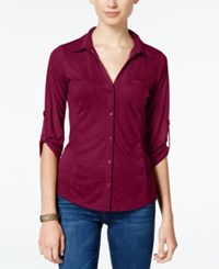 Almost Famous Juniors' Ribbed Panel Utility Top Wine