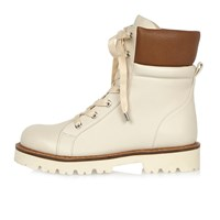 River Island Womens Cream Chunky Utility Boots