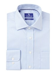Chester Barrie Twill Stripe Tailored Fit Shirt Blue
