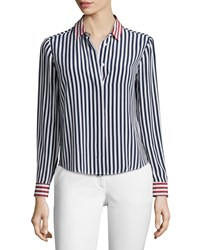 Red Valentino Striped Long Sleeve Silk Top Women's