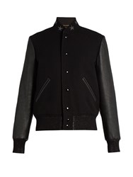 Saint Laurent Wool Blend And Leather Teddy Jacket Black