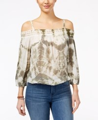 Amy Byer Bcx Juniors' Tie Dyed Cold Shoulder Blouse Olive