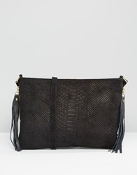 Warehouse Leather Embossed Croc Cross Body Bag Black
